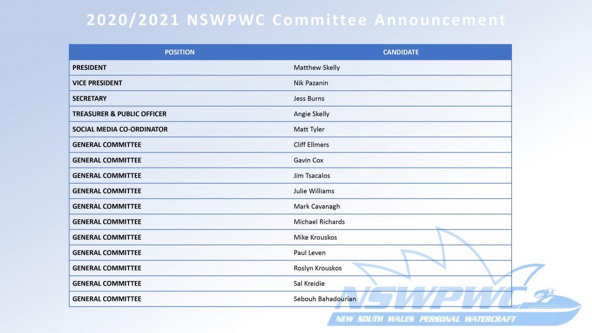 2020/2021 NSWPWC Committee Announcement